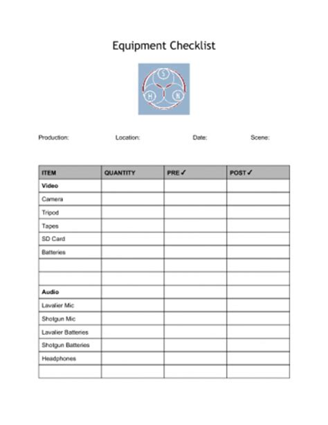 Video Equipment Checklist The Sustainable Heritage Network Equipment List Template