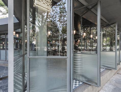 folding window walls 93 sqm monochromatic burger restaurant interior design