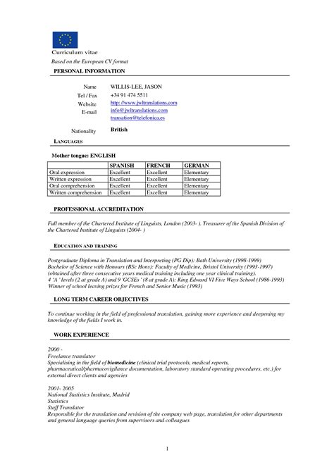 Cover Letter Format Europe Free Resume Templates Cv Format Sle More Than 10000