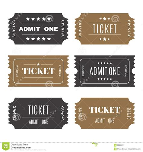 entry tickets template paper tickets with numbers set of vector templates entry