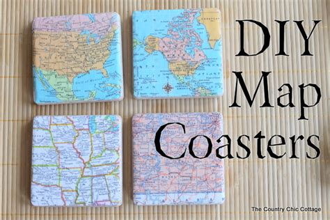 map decor crafts to make your home unique pillar box blue diy map coasters the country chic cottage