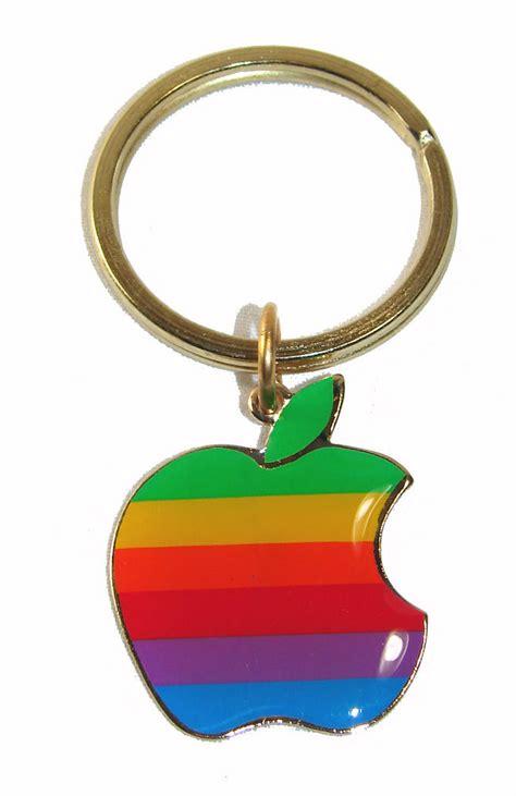 apple keychain vintage 1980 s apple computer logo keychain old rainbow