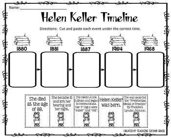 helen keller biography worksheet helen keller timeline cut and paste freebie i am pleased