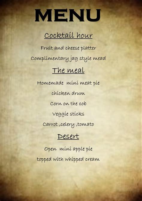 tudor menu template midevil themed the jaguar lounge arts