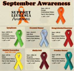 awareness months and colors september awareness causes sticky back embroidered ribbon