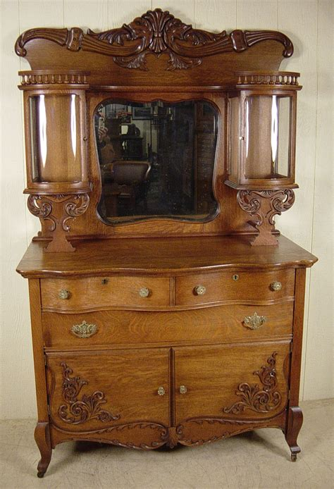 Coe Furniture by Oak Sideboard With Curio Cabinet Top