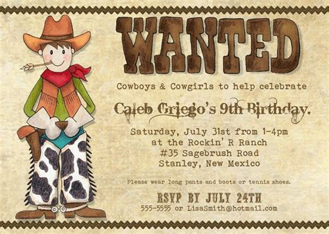 free templates for cowboy invitations cowboy party invitations theruntime com
