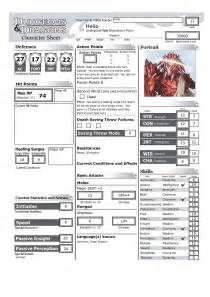 Dungeons And Dragons Character Sheet 5 » Home Design 2017