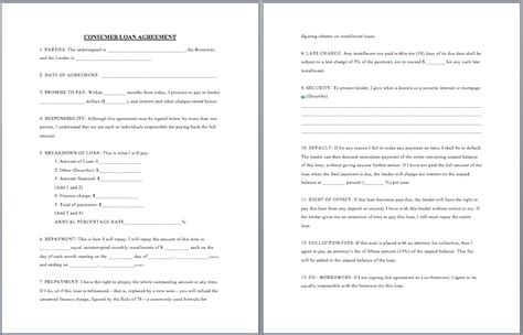 consumer loan agreement template format template