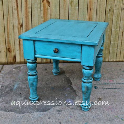 Shabby Chic Bedroom End Tables Turquoise Blue Stand End Table From Aquaxpressions On