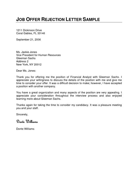 Rejection Rfp Letter Sle Sle Rejection Letter For Offer From Employer Docoments Ojazlink