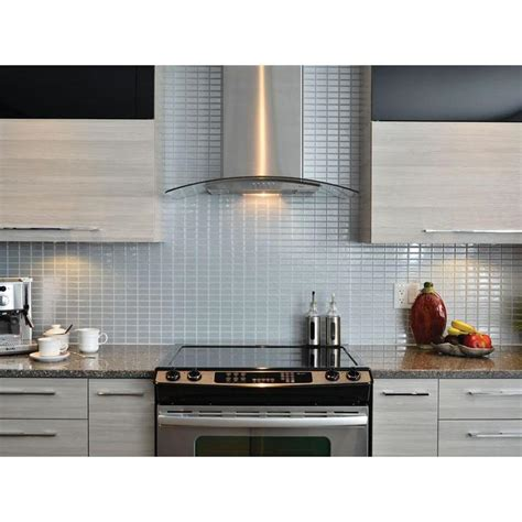 self stick kitchen backsplash smart tiles stainless 10 625 in w x 10 00 in h peel and