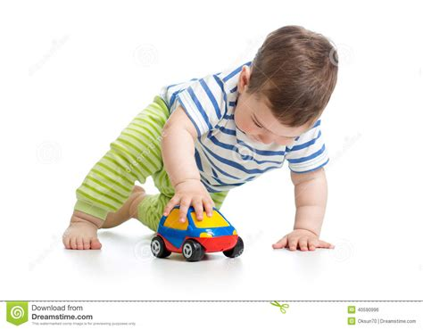 kid play car baby boy toddler with car stock photo image