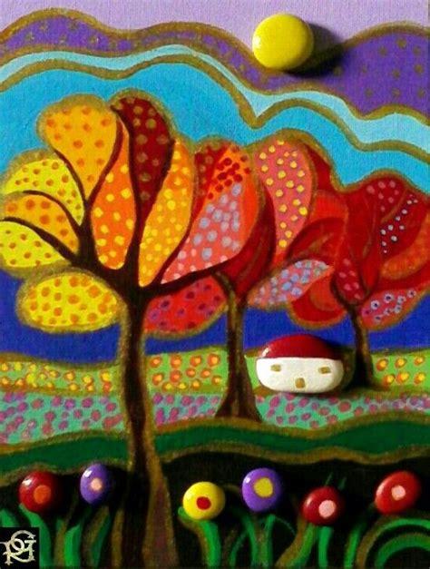 cornici gagliardi paesaggio naif autunnale painted stones di rosaria