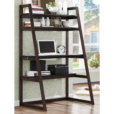 furniture of america tali contemporary 2 tone leaning writing desk aldosa ladder desk and shelf free shipping today
