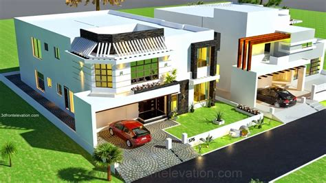 3d front elevation 1 kanal house drawing floor plans