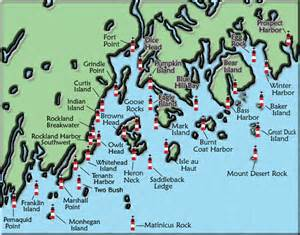 lighthouses map acadia and penobscot bay maine lighthouse map