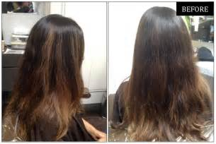 before and after to hair warm subtle brunette highlights neil george
