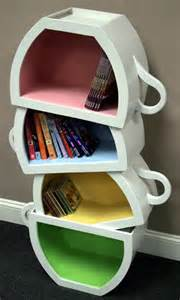 Quirky Bookshelves - creative kids bookshelf with stacked teacup