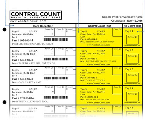 Rdcontrols Llc Inventory Count Tags Template