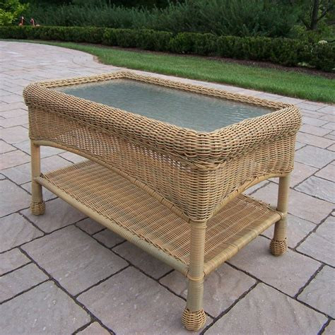 Wicker Table L Shop Oakland Living Resin Wicker 17 5 In W X 29 In L Rectangle Wicker Coffee Table At Lowes