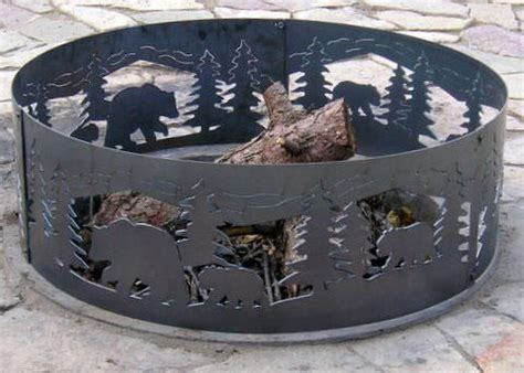 48 Inch Fire Ring Bear N Cubs Steel Fire Pit Art 48 Inch Pit