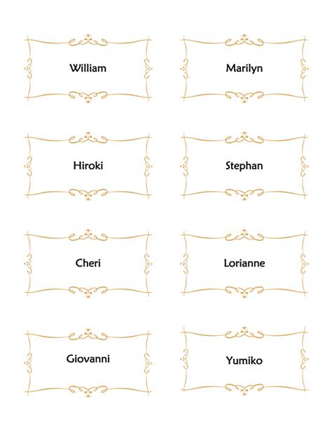 Place Card Template 6 Per Page by Place Card Template 6 Per Sheet Lt10367774 Templates Data