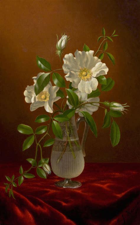 Glass Vase Painting File Cherokee Roses In A Glass Vase Martin Johnson Heade