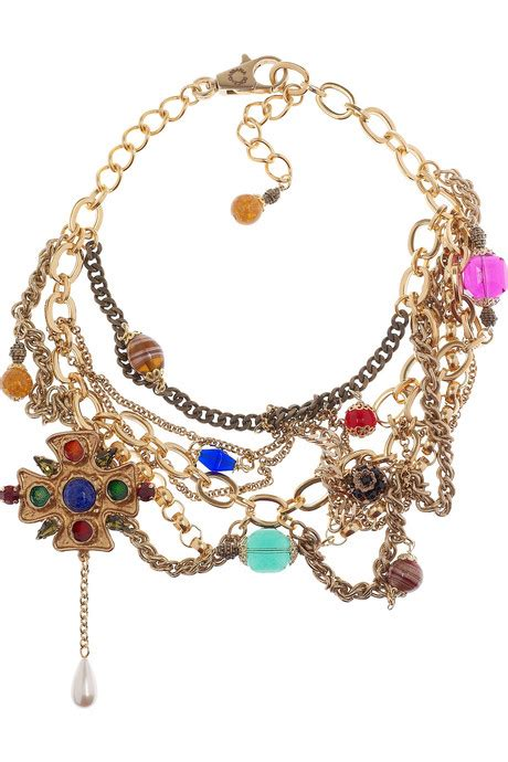 brass chain for jewelry dolce gabbana embellished brass chain necklace