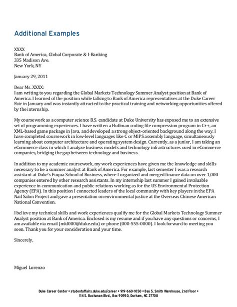 Technology Analyst Cover Letter by Undergraduate Student Cover Letter Collection