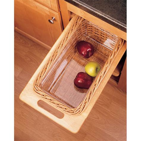 rev a shelf woven basket with rails in standard size kitchensource com cabinet organizers kitchen cabinet organizers by hafele