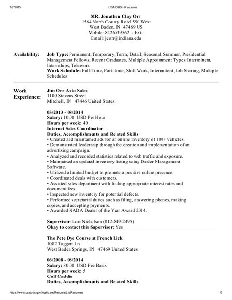 Usajobs Resume Advice Resume Exle For Usa Resume Ixiplay Free Resume Sles