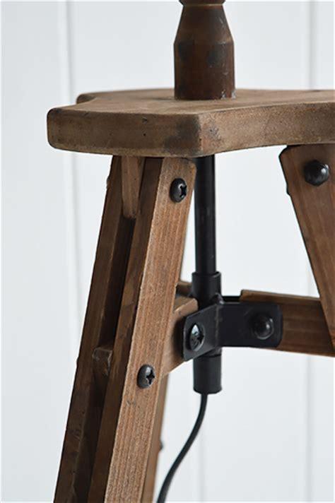 wooden tripod table l wooden tripod table l with white shade the white