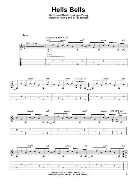 Hells Bells sheet music by AC/DC (Guitar Tab Play-Along ... Ac Dc Thunderstruck Guitar Tabs