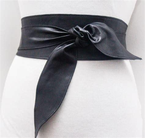 distressed black real leather obi belt wide waist belt