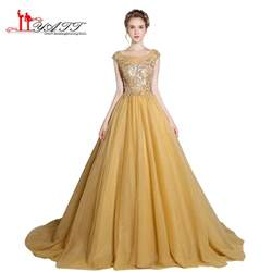 gown designs prom dress evening gown 2017 new design gold luxurious sequins top see through