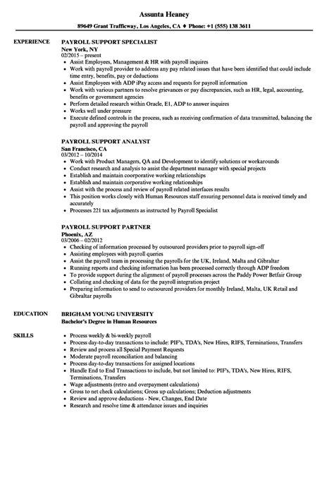 payroll support resume sles velvet