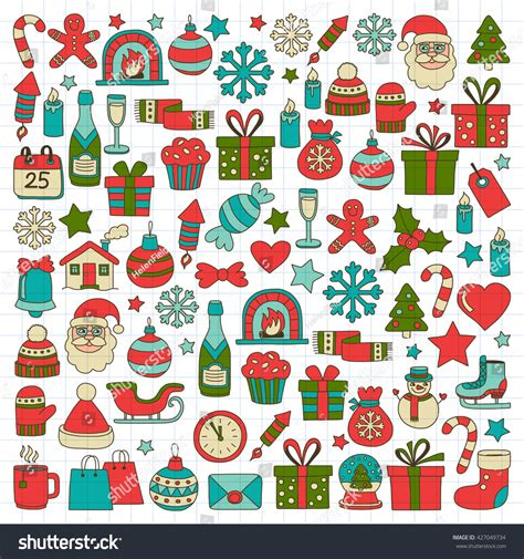 doodle merry doodle vector icons merry and happy new year