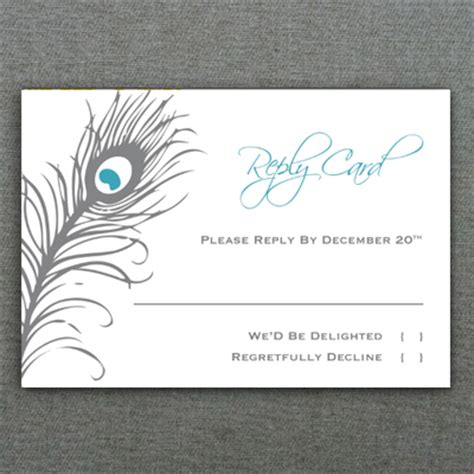 rsvp template peacock feather rsvp card template print