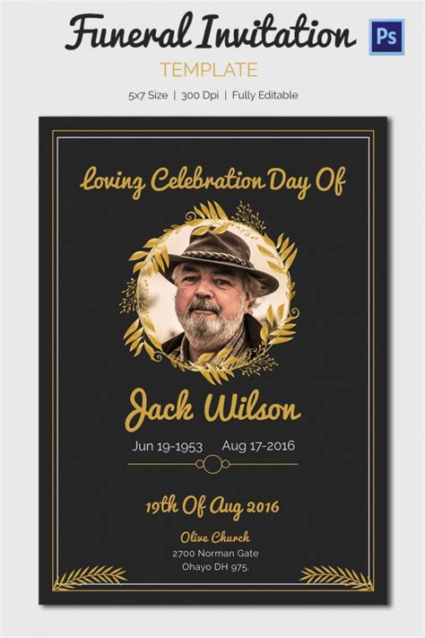 funeral announcement cards templates 15 funeral invitation templates free sle exle