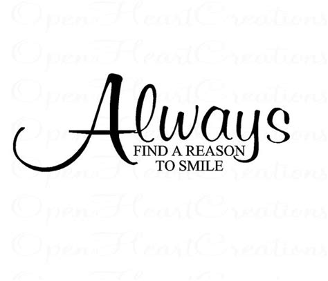 Motivational Wall Stickers always find a reason to smile wall decal by openheartcreations