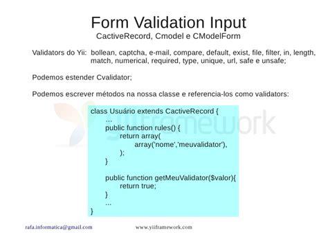 yii tutorial validation rules rafael garcia yii framework principais caracter 237 sticas