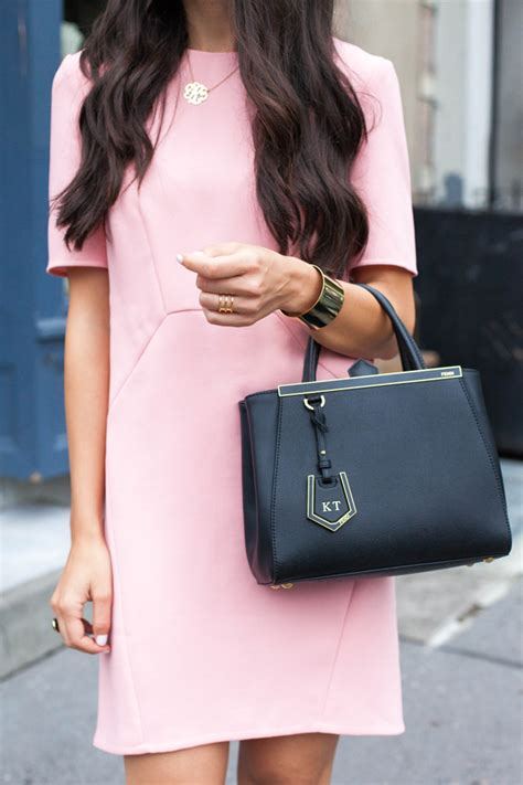 Fendi 2 Jourius whistles pink shift dress with fendi 2jours mini bag