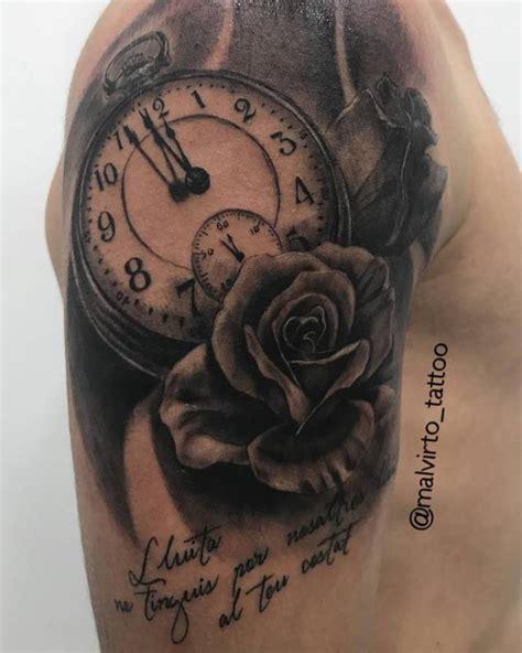 tattoos de rosas tatuaje reloj con rosas