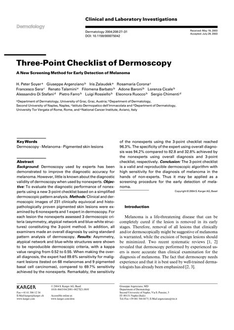 pattern analysis lecture dermoscopy three point checklist of dermoscopy pdf download available