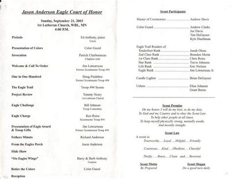 eagle scout court of honor program template jason eagle court of honor program troop 494