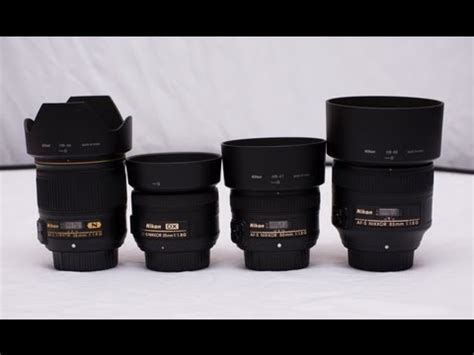 nikon 28mm, 35mm, 50mm and 85mm 1.8g comparison youtube