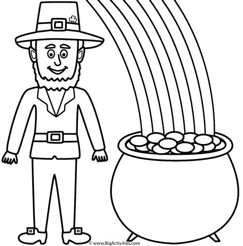 Leprechaun With Pot Of Gold And Rainbow Coloring Page Rainbow And Pot Of Gold Coloring Pages