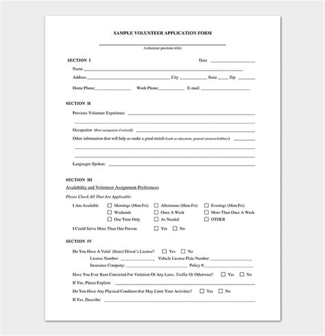 Volunteer Application Template 20 Forms Doc Pdf Format Volunteer Application Form Template