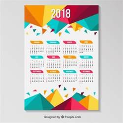 Calendario 2018 Vector Gratis Calendario De 2018 Con Pol 237 Gonos De Colores Descargar